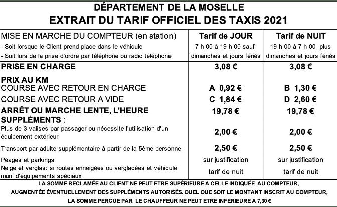 Tarif Taxi Moselle 2021